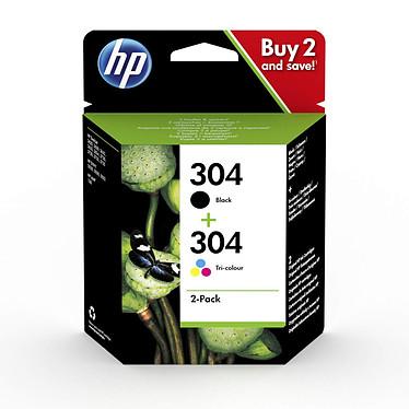 HP 304 Pack - 3JB05AE Pack de 2 cartouches d'encre Noire et 3 couleurs Cyan / Mangenta / Jaune ( 120 pages en noir et 100 pages en trois couleurs)