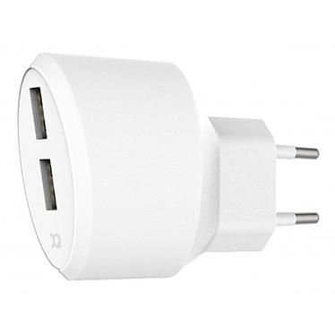 xqisit Travel Charger 3.4 A Dual USB Blanc  Chargeur de voyage avec double ports USB 2.4 A et USB 1 A