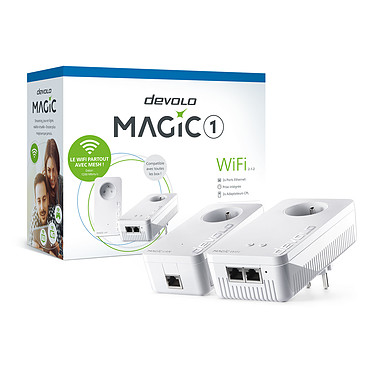 devolo Magic 1 WiFi - Kit de démarrage Pack de 2 adaptateurs CPL 1200 Mbps et Wi-Fi AC1200 dual-band (AC867 + N300) MESH avec ports Fast Ethernet