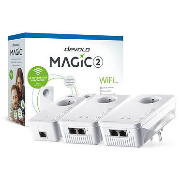 devolo Magic 2 WiFi - Multiroom Kit Pack de 3 adaptateurs CPL 2400 Mbps et Wi-Fi AC1200 dual-band (AC867 + N300) MESH avec ports Gigabit Ethernet