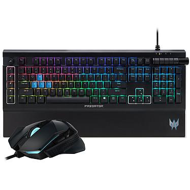 Acer Predator Combo 500 Ensemble pour gamer avec clavier mécanique Kaihua Blue, rétroéclairage RGB et repose-poignet magnétique et souris filaire ambidextre optique 7200 dpi 8 boutons RGB