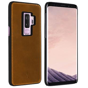 Akashi Coque Cuir Italien Marron Galaxy S9+ Coque en cuir véritable marron pour Samsung Galaxy S9+