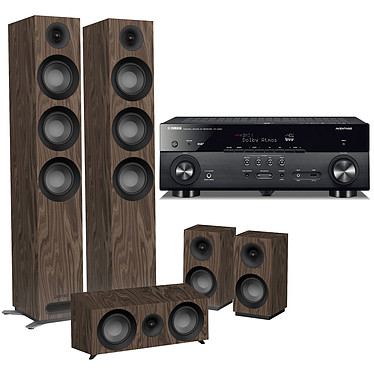Yamaha MusicCast RX-A680 Noir + Jamo S 809 HCS Noyer Ampli-tuner Home Cinéma 7.2 3D 80W/canal - Dolby Atmos/DTS:X - 4x HDMI HDCP 2.2 Ultra HD 4K - Wi-Fi/Bluetooth/DLNA/AirPlay - MusicCast/MusicCast Surround - A.R.T. Wedge - Calibration YPAO + Pack d'enceintes 5.0 compatible Dolby Atmos