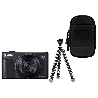 Canon PowerShot SX740 HS Noir + Etui + Gorillapod Appareil photo 20.3 MP - Zoom optique 40x - Vidéo 4K - Wi-Fi - Bluetooth + Etui de transport + Trépied flexible
