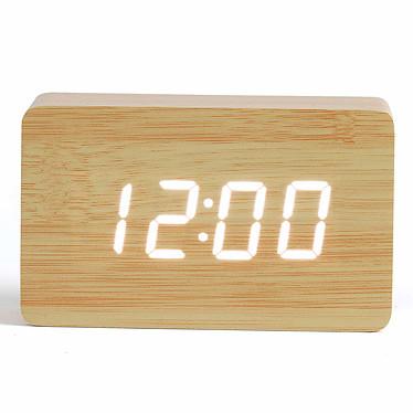 Livoo RV150 Bois Clair Horloge digitale avec fonction réveil, thermomètre et calendrier