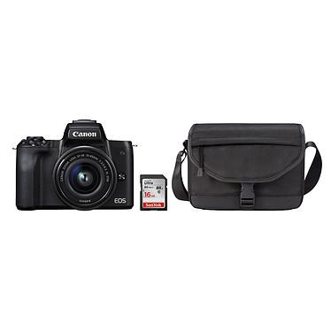 """Canon EOS M50 Noir + EF-M 15-45 mm IS STM Noir + SB130 + SanDisk SD 16 Go Appareil photo hybride 24.1 MP - Vidéo 4K - AF CMOS Dual Pixel - Ecran LCD tactile orientable 3"""" - Wi-Fi/NFC - Bluetooth + Objectif EF-M 15-45 mm IS STM + Etui + Carte SDHC 16 Go"""