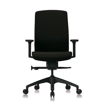 MT international Fauteuil Opérative Ergonomique MTGA31X Noir Fauteuil ergonomique à roulettes (sans accoudoirs; en option), dossier et assise en tissu