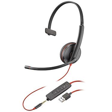 Plantronics Blackwire C3215 USB-A Casque-micro USB monaural avec connecteur Jack 3.5mm optimisé pour Microsoft Lync & Skype for Business