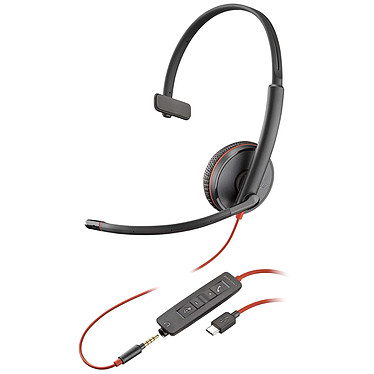 Plantronics Blackwire C3215 USB-C Casque-micro USB monaural avec connecteur Jack 3.5mm optimisé pour Microsoft Lync & Skype for Business