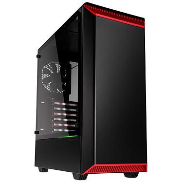 Phanteks Eclipse P300 Tempered Glass (Noir/Rouge) Boîtier moyen tour à rétroéclairage multicolore RGB avec fenêtre latérale en verre trempé