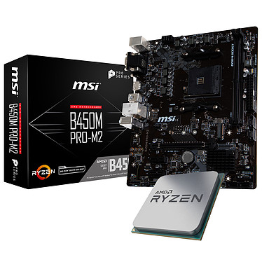Kit Upgrade PC AMD Ryzen 5 2600X MSI B450M PRO-M2 Carte mère Micro ATX Socket AM4 AMD B450 + CPU AMD Ryzen 5 2600X (3.6 GHz)