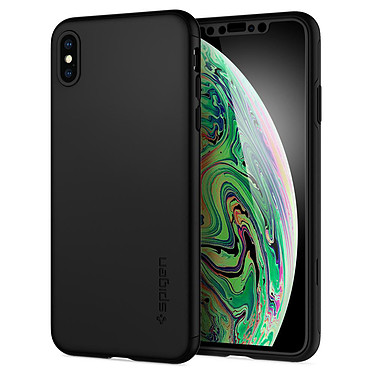 Spigen Thin Fit 360 + Vitre de protection Noir iPhone Xs Max