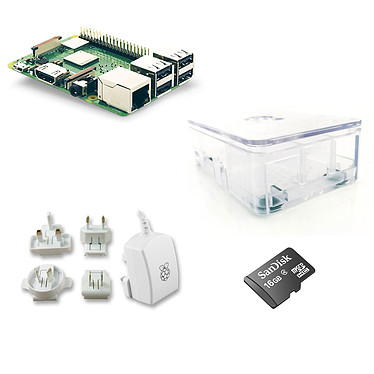 Raspberry Pi 3+ Starter Kit Transparent Mini ordinateur (carte Raspberry 3 Model B+ + boîtier transparent + carte mémoire microSDHC + adaptateur secteur)