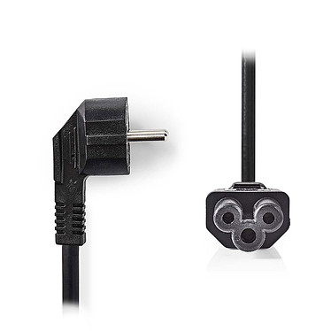 Nedis Câble d'alimentation tripolaire noir - 5 mètres Câble d'Alimentation Schuko Mâle Coudé vers IEC-320-C5 - 5 m