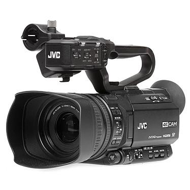 JVC GY-HM250E Caméscope 4K Ultra HD avec live streaming, zoom optique 12x, double slot SD, sorties 3G-SDI, HDMI et entrées XLR