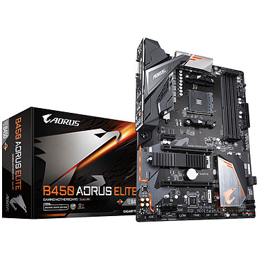 Gigabyte B450 AORUS ELITE Carte mère ATX Socket AM4 AMD B450 - 4x DDR4 - SATA 6Gb/s + M.2 - USB 3.0 - 2x PCI-Express 3.0 16x