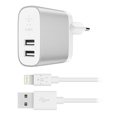 Belkin Chargeur Secteur Boost Charge USB-A + Câble Lightning / USB-A Chargeur secteur Boost Charge à 2 ports USB-A universels avec câble Lightning vers USB-A