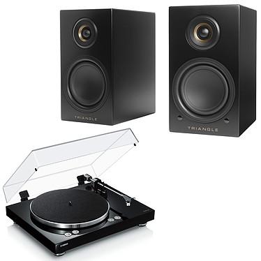 Yamaha MusicCast VINYL 500 Noir + Triangle Elara LN01A Noir Mat Platine vinyle multiroom à 2 vitesses (33-45 trs/min) avec pré-ampli intégré, Bluetooth, Wi-Fi et AirPlay + Enceinte sans fil Hi-Fi Bluetooth (par paire)