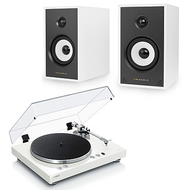 Yamaha MusicCast VINYL 500 Blanc + Triangle Sensa SN03A Blanc Mat Platine vinyle multiroom à 2 vitesses (33-45 trs/min) avec pré-ampli intégré, Bluetooth, Wi-Fi et AirPlay + Enceinte sans fil active Bass-Reflex Bluetooth aptX avec pré-amplificateur phono (par paire)