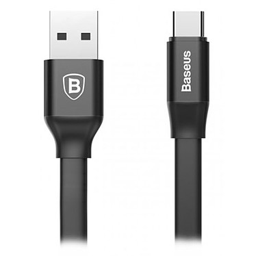Baseus Câble USB/USB-C Noir - 1.2m Câble plat de chargement et synchronisation USB vers USB-C