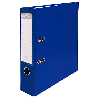 Exacompta Classeur à levier 80mm Bleu Classeur à levier 2 anneaux avec dos de 80mm pour documents A4