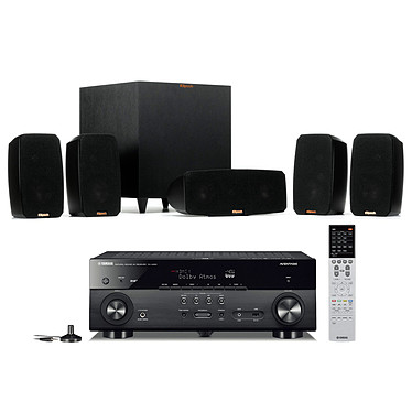 Yamaha MusicCast RX-A680 Noir + Klipsch Reference Theater Pack Ampli-tuner Home Cinéma 7.2 3D 80W/canal - Dolby Atmos/DTS:X - 4x HDMI HDCP 2.2 Ultra HD 4K - Wi-Fi/Bluetooth/DLNA/AirPlay - MusicCast/MusicCast Surround - A.R.T. Wedge - Calibration YPAO + Pack d'enceintes 5.1 avec caisson de basses sans fil
