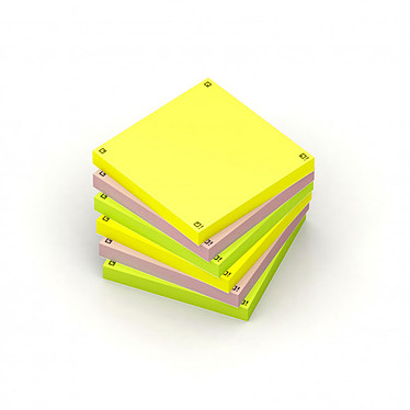 Oxford Spot Notes Blocs pense-bêtes assortis x 6 Lot de 6 blocs de 80 feuillets 75 x 75 mm (2 x jaune, 2 x rose, 2 x vert)
