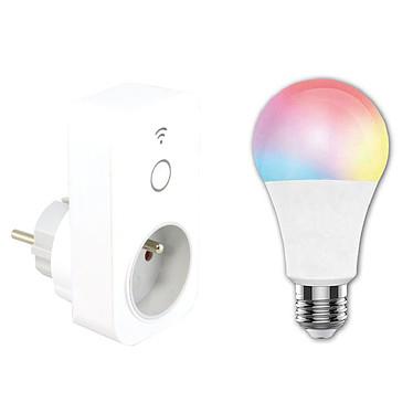MCL Pack Ampoule + Prise connectées Pack Prise connectée Wi-Fi + Ampoule LED RGB connectée E27 Wi-Fi compatibles Amazon Alexa / Google Assistant / IFTTT