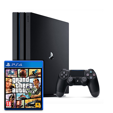 Sony PlayStation 4 Pro (1 To) + Grand Theft Auto V - GTA 5 Console Ultra HD 4K avec disque dur 1 To et manette sans fil + jeu Grand Theft Auto V - GTA 5