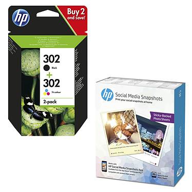 HP 302 Combo 3 couleurs / noir - X4D37AE + Papier photo W2G60A Pack de 2 cartouches d'encre noire et tricolore (190 pages en noir, 165 pages en trois couleurs) + Papier photo adhésif Social Media Snapshots amovible 10 x 13 cm - 25 feuilles