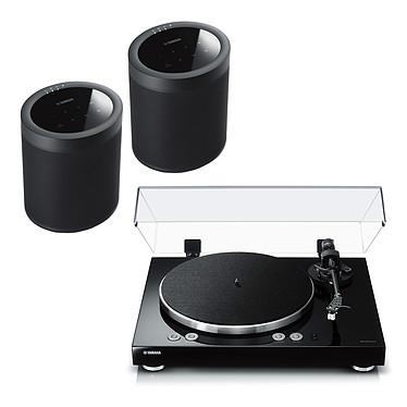 Yamaha MusicCast VINYL 500 Noir + Yamaha MusicCast 20 Noir Platine vinyle multiroom à 2 vitesses (33-45 trs/min) avec pré-ampli intégré, Bluetooth, Wi-Fi et AirPlay + Enceinte sans fil 40 Watts multiroom Wi-Fi, Airplay et Bluetooth avec MusicCast et MusicCast Surround (par paire)