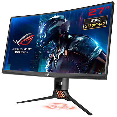 "ASUS 27"" LED - ROG Swift PG27VQ 2560 x 1440 pixels - 1 ms (Gris à Gris) - Format large 16/9 - G-SYNC - Dalle TN incurvée - 165 Hz - 3D Ready - Ultra Low Blue Light + Flicker Free - HDMI/DisplayPort - Hub USB 3.0"
