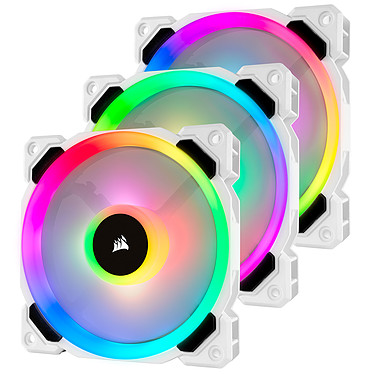 Corsair LL Series LL120 RGB Triple Pack - Blanco 3 ventiladores de 120 mm de alto rendimiento con LEDs RGB + Nodo luminoso Pro