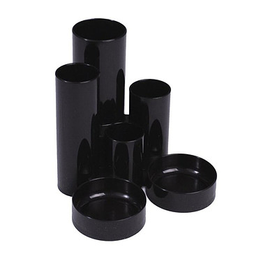 deflecto Tube Tidy Noir Multipot 6 compartiments Noir