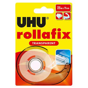 UHU Rollafix Dévidoir + Ruban Transparent - 25 m Dévidoir avec ruban adhésif transparent 19 mm x 25 m