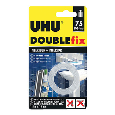 UHU Doublefix Ruban ultra-fort Ruban adhésif double face 19 mm x 1.5 m