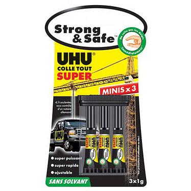 UHU Strong & Safe Minis 3 minis tubes de 1g de colle rapide et ajustable avec boîte de rangement