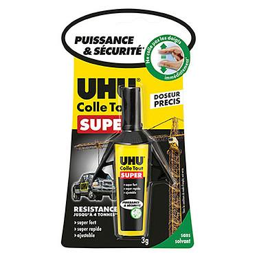UHU Strong & Safe Doseur Tube de 3g de colle rapide et ajustable avec système de doseur précis