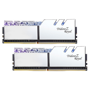 G.Skill Trident Z Royal 16 Go (2 x 8 Go) DDR4 4800 MHz CL18 - Argent Kit Dual Channel 2 barrettes de RAM DDR4 PC4-38400 - F4-4800C18D-16GTRS avec LED RGB