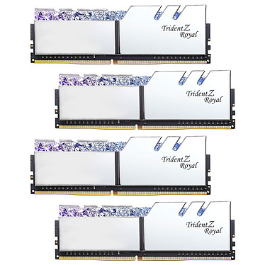 G.Skill Trident Z Royal 32 Go (4 x 8 Go) DDR4 4000 MHz CL17 - Argent Kit Quad Channel 4 barrettes de RAM DDR4 PC4-32000 - F4-4000C17Q-32GTRS avec LED RGB