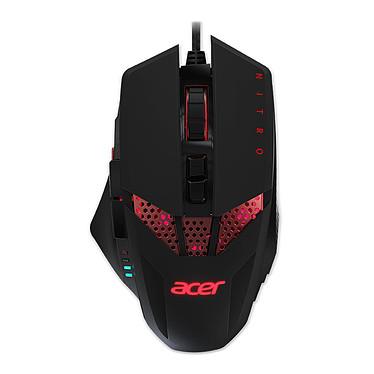 Acer Nitro Gaming Mouse Souris filaire pour gamer - Droitier - Capteur optique 4000 dpi - 8 boutons programmables - Rétro-éclairage rouge - Poids ajustable