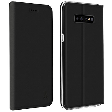 Akashi Etui Folio Porte Carte Noir Galaxy S10 Etui folio avec porte carte pour Samsung Galaxy S10