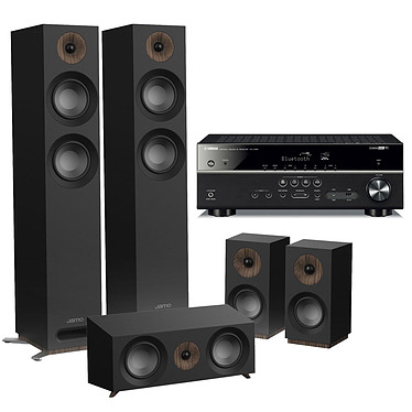 Yamaha RX-V485 Noir + Jamo S 807 HCS Noir Ampli-tuner Home Cinéma 5.1 3D 80 Watts - Dolby TrueHD / DTS-HD Master Audio - 4 x HDMI 2.0 HDCP 2.2 - HDR 10/Dolby Vision/HLG - Bluetooth/Wi-Fi/AirPlay - MusicCast - YPAO + Pack d'enceintes 5.0 compatible Dolby Atmos