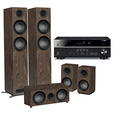 Yamaha RX-V485 Noir + Jamo S 807 HCS Noyer Ampli-tuner Home Cinéma 5.1 3D 80 Watts - Dolby TrueHD / DTS-HD Master Audio - 4 x HDMI 2.0 HDCP 2.2 - HDR 10/Dolby Vision/HLG - Bluetooth/Wi-Fi/AirPlay - MusicCast - YPAO + Pack d'enceintes 5.0 compatible Dolby Atmos