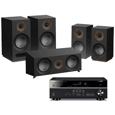 Yamaha RX-V485 Noir + Jamo S 803 HCS Noir Ampli-tuner Home Cinéma 5.1 3D 80 Watts - Dolby TrueHD / DTS-HD Master Audio - 4 x HDMI 2.0 HDCP 2.2 - HDR 10/Dolby Vision/HLG - Bluetooth/Wi-Fi/AirPlay - MusicCast - YPAO + Pack d'enceintes 5.0 compatible Dolby Atmos