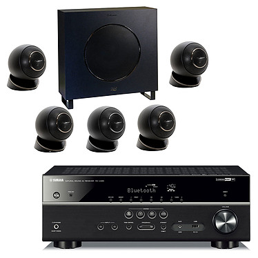 Yamaha RX-V485 Noir + Cabasse Eole 4 Noir Ampli-tuner Home Cinéma 5.1 3D 80 Watts - Dolby TrueHD / DTS-HD Master Audio - 4 x HDMI 2.0 HDCP 2.2 - HDR 10/Dolby Vision/HLG - Bluetooth/Wi-Fi/AirPlay - MusicCast - YPAO + Pack d'enceintes 5.1