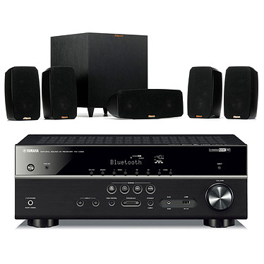 Yamaha RX-V485 Noir + Klipsch Reference Theater Pack Ampli-tuner Home Cinéma 5.1 3D 80 Watts - Dolby TrueHD / DTS-HD Master Audio - 4 x HDMI 2.0 HDCP 2.2 - HDR 10/Dolby Vision/HLG - Bluetooth/Wi-Fi/AirPlay - MusicCast - YPAO + Pack d'enceintes 5.1 avec caisson de basses sans fil