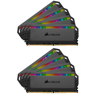 Corsair Dominator Platinum RGB 64 Go (8x 8Go) DDR4 3200 MHz CL16 Kit Quad Channel 8 barrettes de RAM DDR4 PC4-25600 - CMT64GX4M8C3200C16