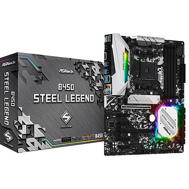 ASRock B450 Steel Legend Carte mère ATX Socket AM4 AMD B450 - 4x DDR4 - SATA 6Gb/s + M.2 - USB 3.1 - 1x PCI-Express 3.0 16x