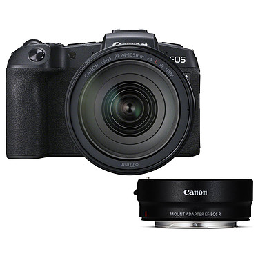 "Canon EOS RP + RF 24-105mm f/4L IS USM + EF-EOS R Appareil photo hybride plein format 26.2 MP - Vidéo Ultra HD - AF CMOS Dual Pixel - Ecran LCD tactile orientable 3"" - Wi-Fi/Bluetooth + Objectif 24-105mm f/4L IS USM + Bague d'adaptation hybride Full Frame"